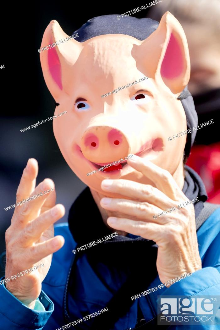 """Stock Photo: 03 July 2020, Berlin: A person wearing a pig mask takes part in a protest action by animal welfare activists and the animal welfare foundation """"""""Vier Pfoten""""""""."""