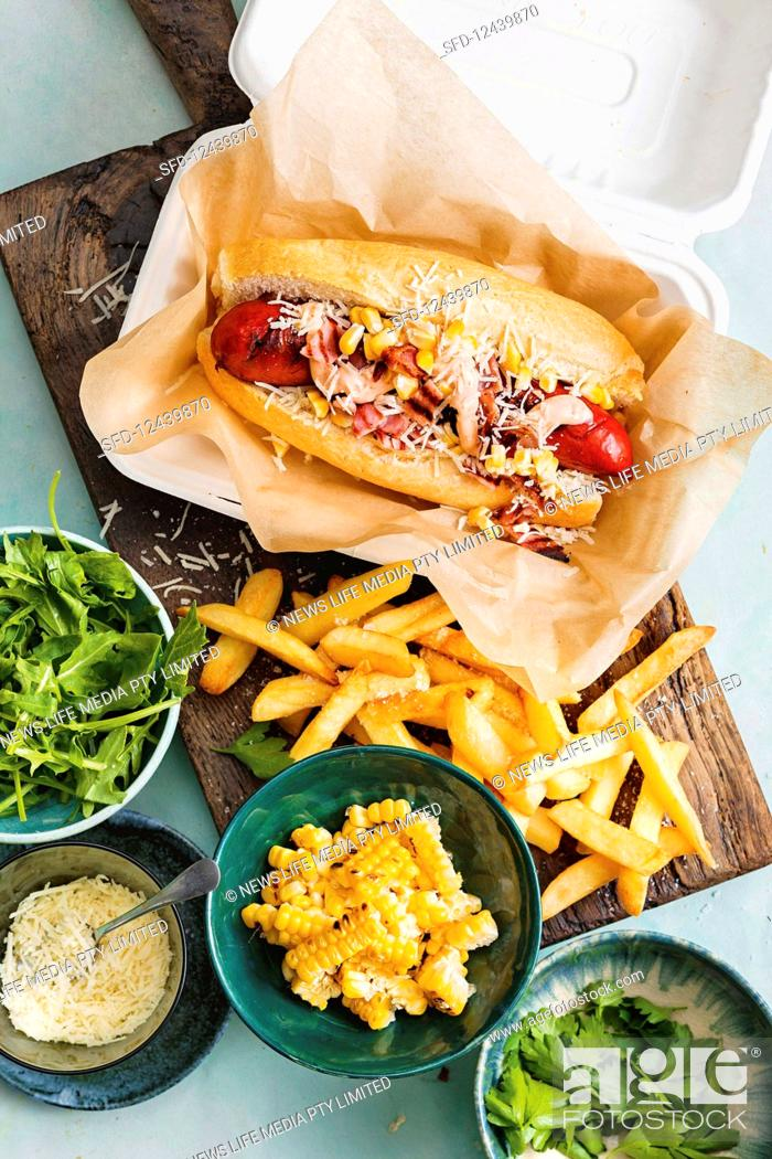 Stock Photo: Charred hot dogs with spicy mayonnaise.