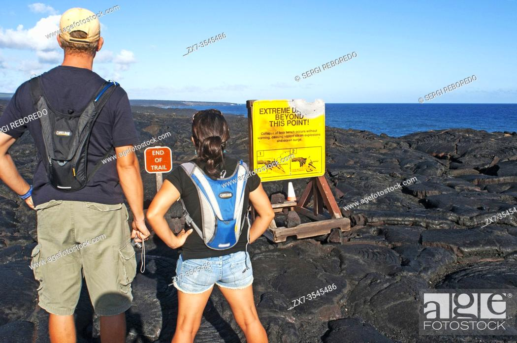 Stock Photo: End of trail. Black lava mountains near the coast and highway Chain of Crater Road. Hawai'i Volcanoes National Park. Big Island. Hawaii.