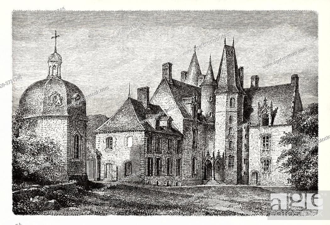 Photo de stock: Chateau des Rochers at Sévigné, Brittany, France. Old XIX century engraving illustration. Les Français Illustres by Gustave Demoulin 1897.