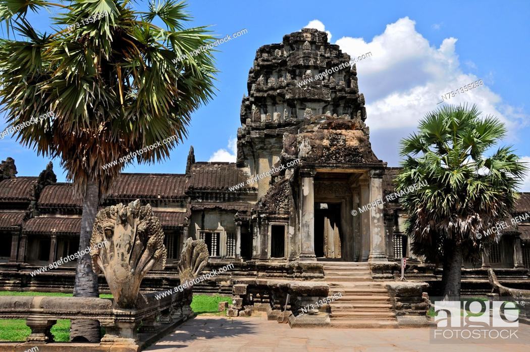 Stock Photo: Cambodia, Siem Reap, the temples of Angkor, classified UNESCO World Heritage, Angkor Wat,.