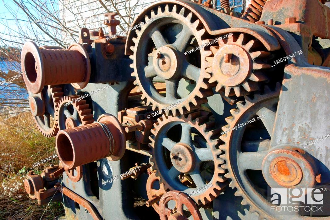 Stock Photo: Gears on an old piece of ship winch machinery.