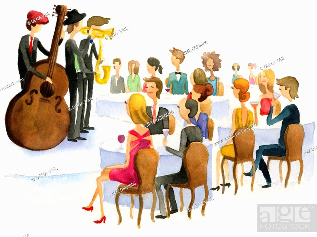 Stock Photo: A watercolor illustration of people watching a jazz band perform.
