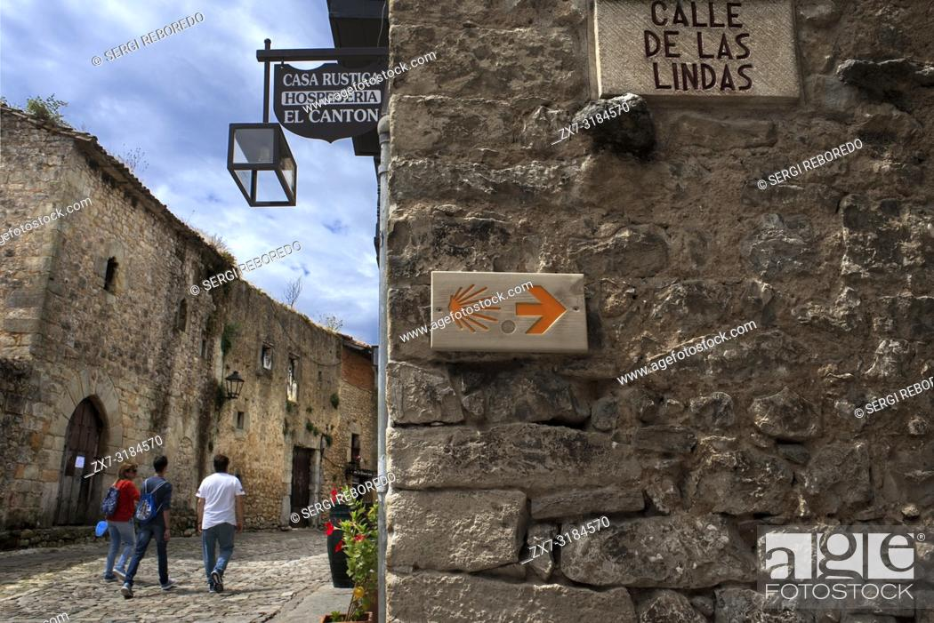 Stock Photo: Mar of The Way of Saint James in Santillana Del Mar, Medieval Village in Cantabria, Spain. One of the stops of the Transcantabrico Gran Lujo luxury train.