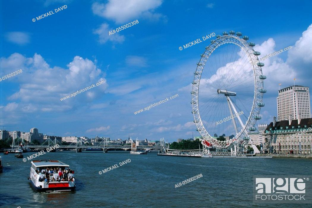 Stock Photo: England - London - South Bank district - London Eye.