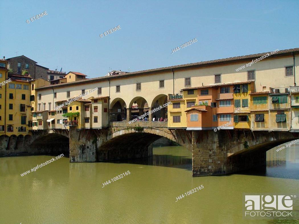 Stock Photo: Italy, Europe, Tuscany, Toscana, Florence, Ponte Vecchio, Bridge, Landmark, Arno river.