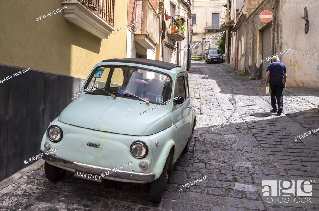 Stock Photo: Fiat 500, Catania, Sicily, Italy, Bronte, Catania, Sicily, Italy.