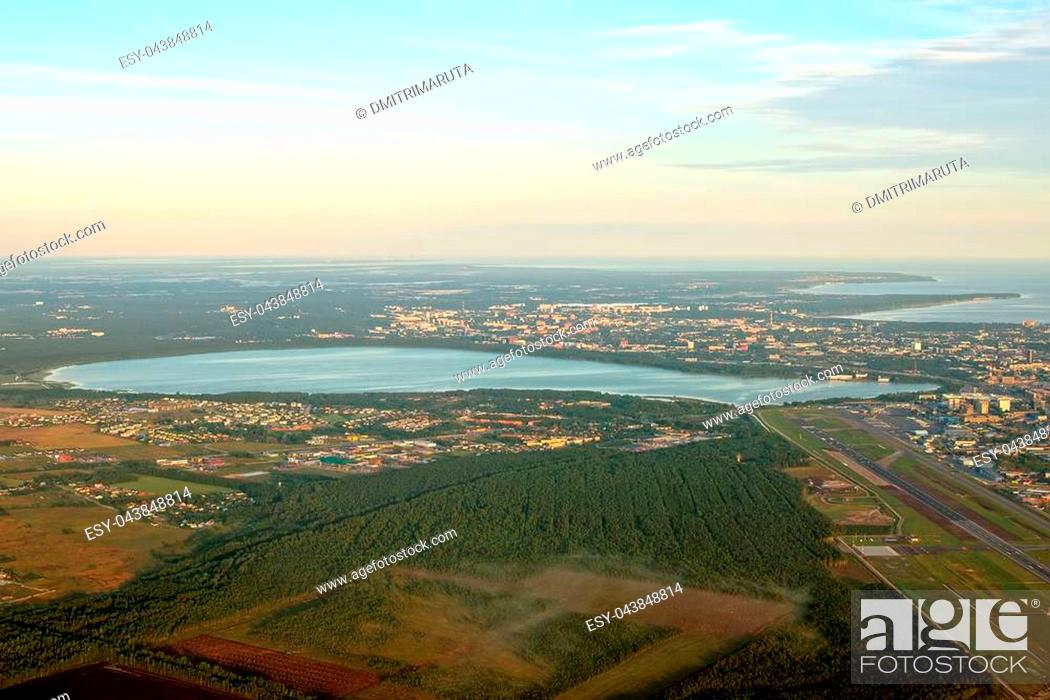 Stock Photo: View from the plane to Lake Ülemiste and Tallinn airport.