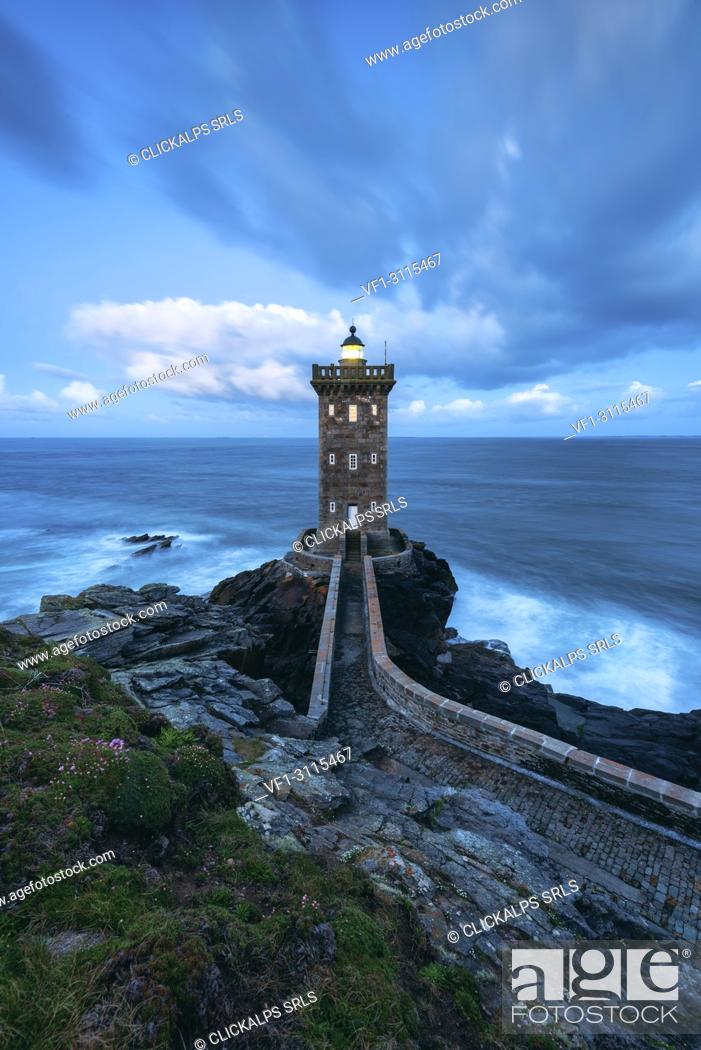 Stock Photo: .Kermorvan Lighthouse, Le Conquet, Brest, Finistère departement, Bretagne - Brittany, France, Europe.