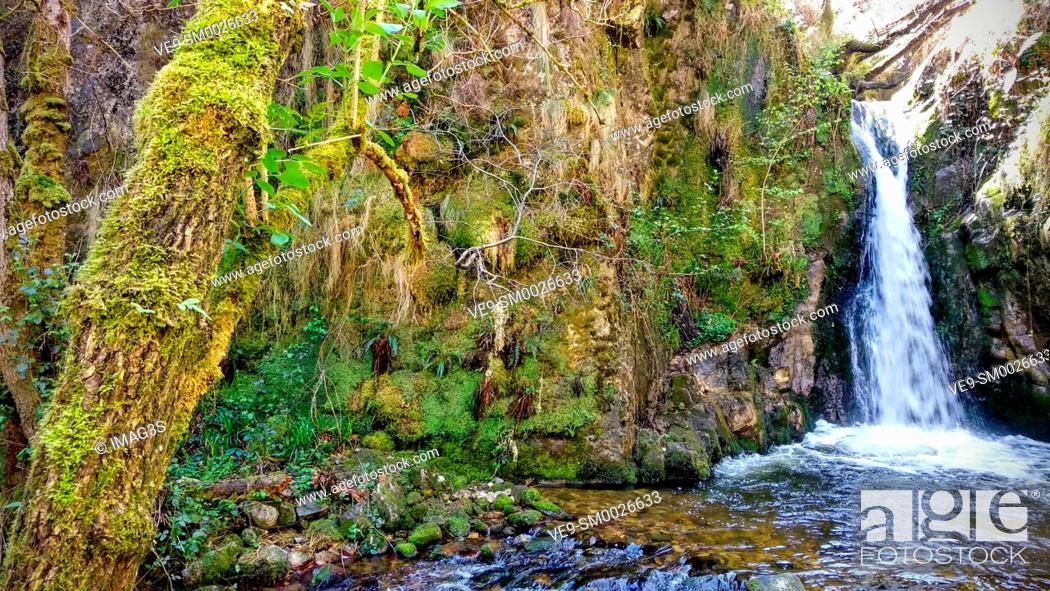 Stock Photo: 'Chorrón' waterfall, Villamayor, Piloña municipality, Asturias, Spain.