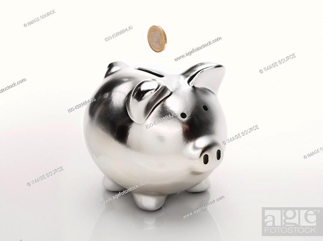 Stock Photo: Coin and piggybank.