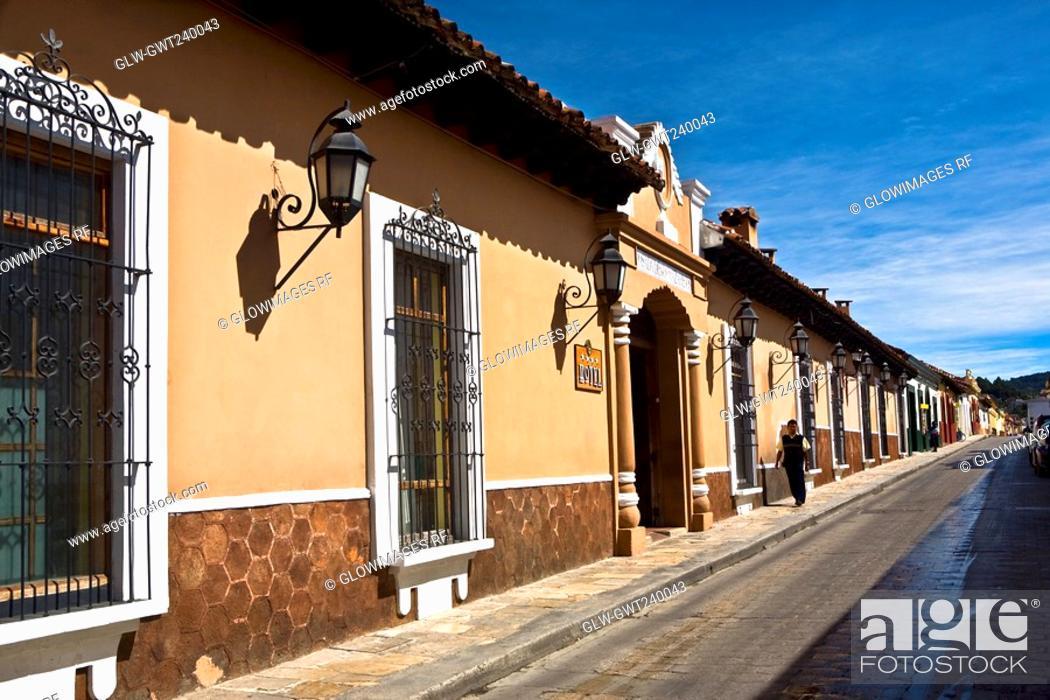 Stock Photo: Building along a street, San Cristobal De Las Casas, Chiapas, Mexico.