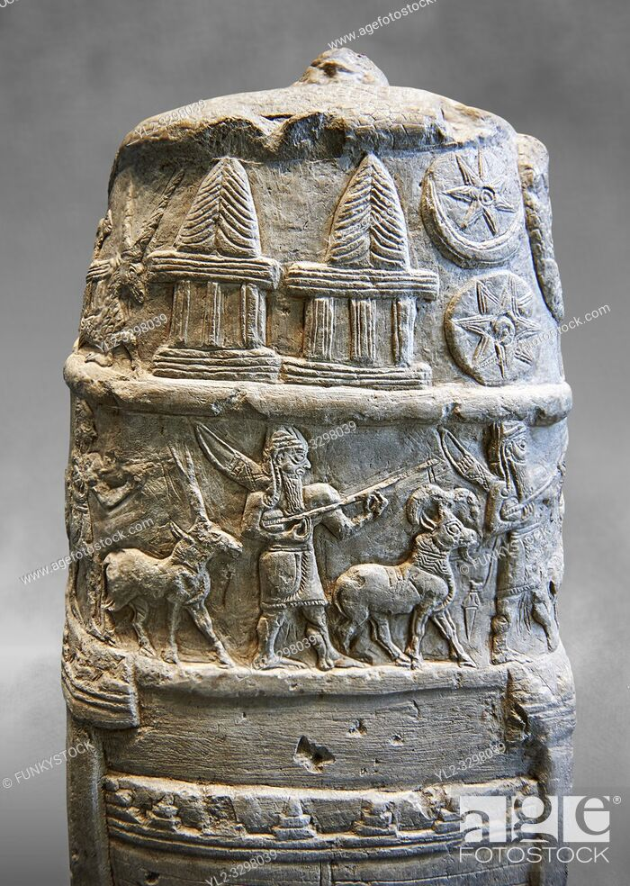 Stock Photo: Stone Stele depicting a ceremonial procession of Babylonian Gods. Circa 1186-1172 BC excavated from Susa where it had been taken as a spoil of war.