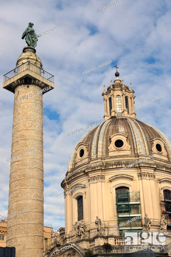 Stock Photo: Rome (Italy). Column of Trajan in the Forum of Trajan of the city of Rome.