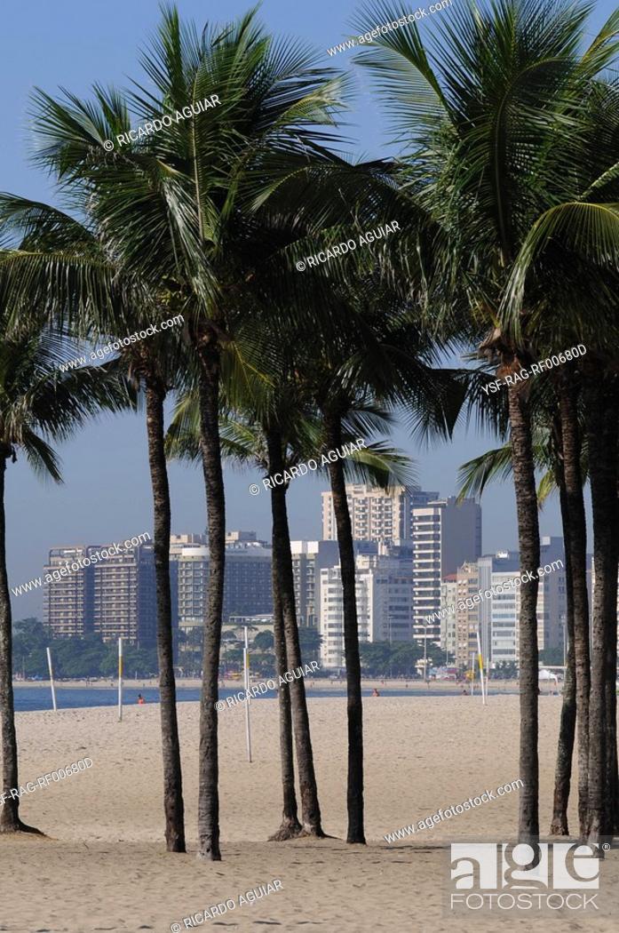Stock Photo: Beach, Copacabana, Rio de Janeiro, Brazil.