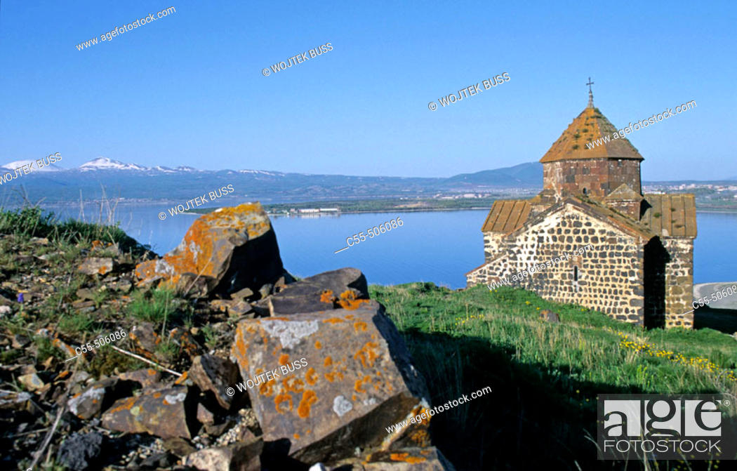 Stock Photo: Church of the Apostles (monastery founded in 874 A.D) overlooking Lake Sevan. Armenia.