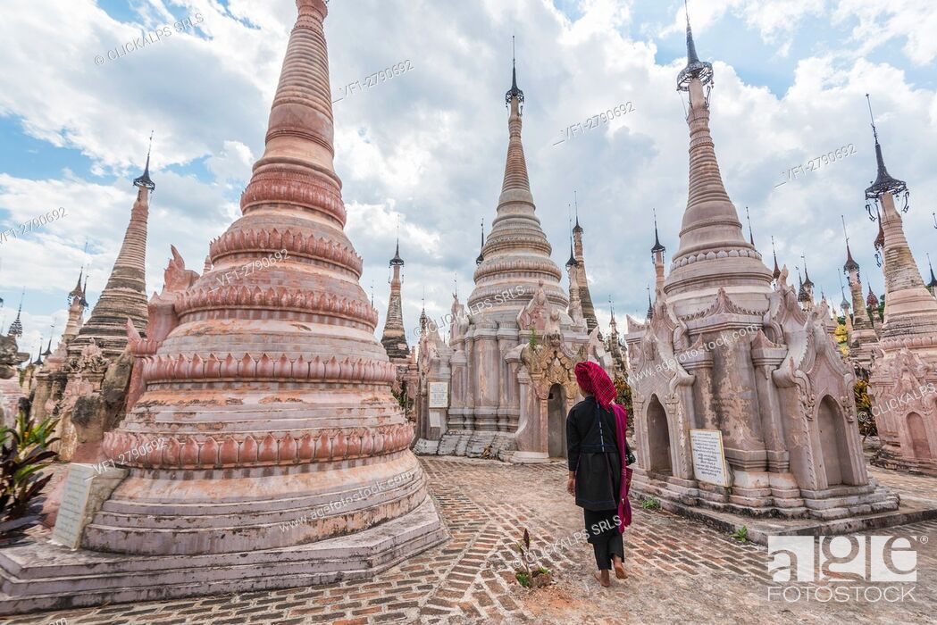 Stock Photo: Kakku, Taunggyi, Shan State, Myanmar (Birmania). A woman walking between the 2478 stupas.