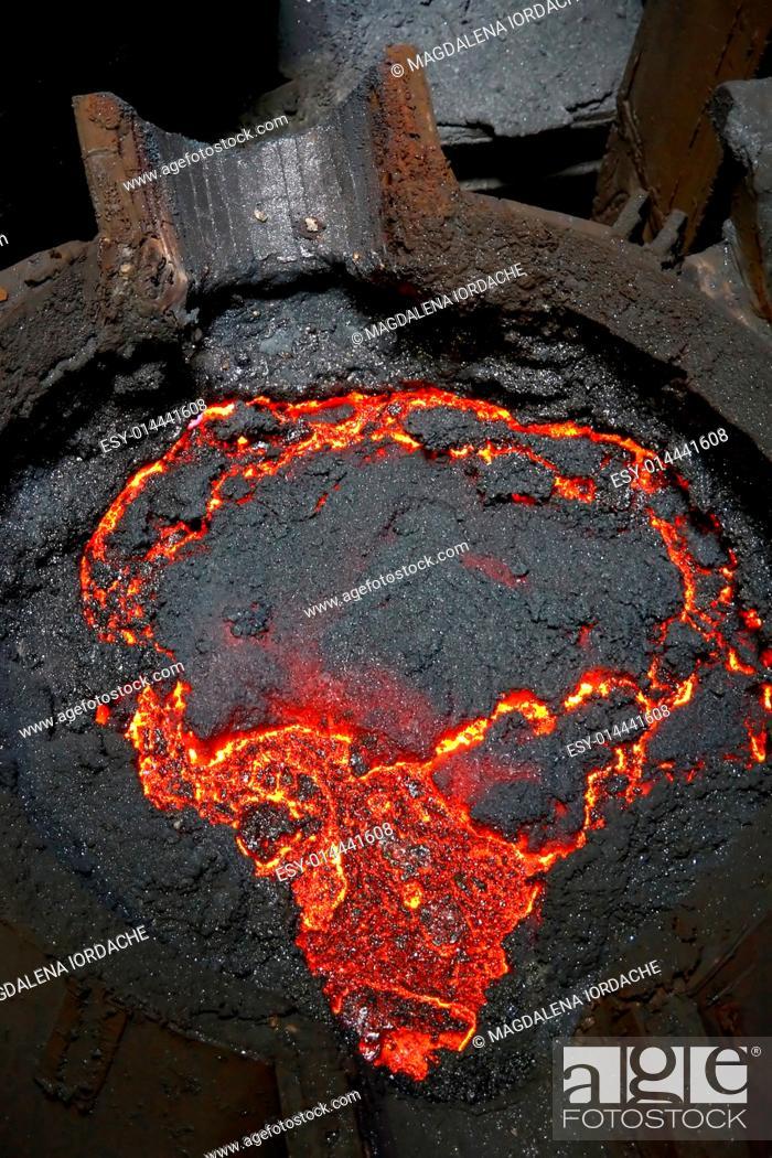 Stock Photo: Molten hot steel.