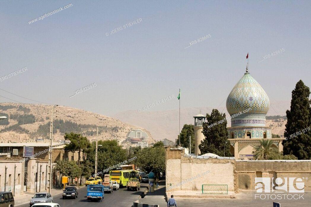 Stock Photo: Iran, Shiraz, Mosque Hafezieh Street.