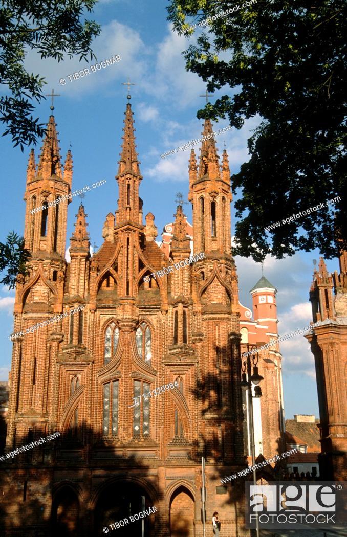Stock Photo: Lithuania, Vilnius, Bernardines and St Anne Churches.