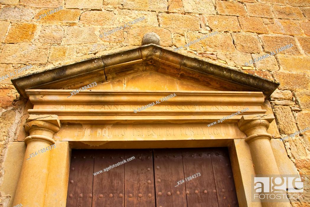 Stock Photo: Church of Santa Maria of Su, the eighteenth century, neoclassical style   The facade is simple, with a rectangular door flanked by semi-columns which support an.