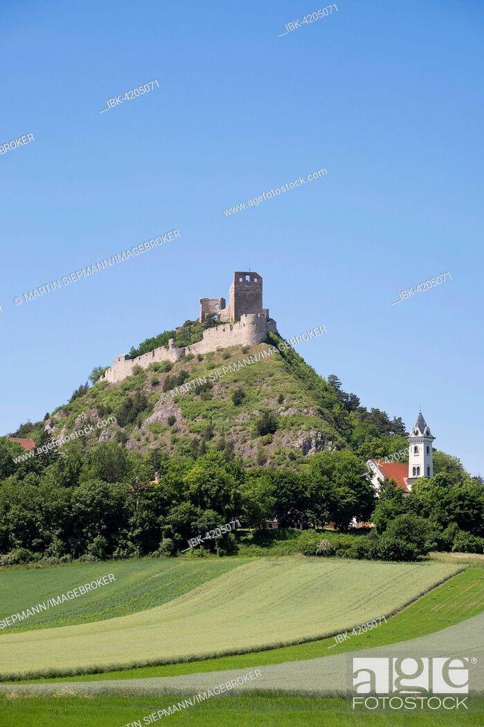 Stock Photo: Staatz castle ruins and St Martin's Church, Staatz, Weinviertel, Lower Austria, Austria.