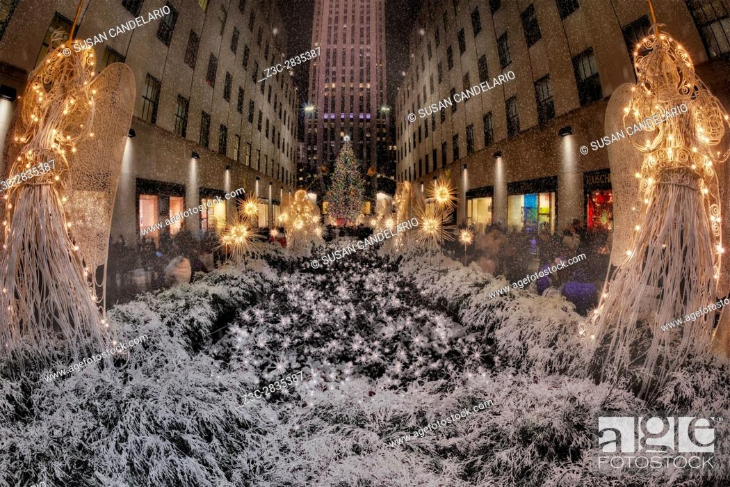 Stock Photo: Rockefeller Center Christmas NYC - The Rockefeller Center Christmas Tree is a world wide symbol of the holidays in New York City.