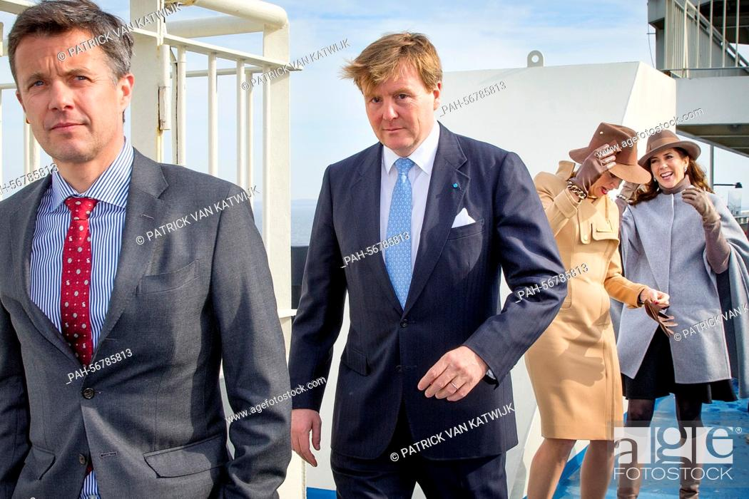 Stock Photo: King Willem-Alexander and Queen Maxima of The Netherlands and Crown Prince Frederik (front) and Crown Princess Mary (back) of Denmark visit Samso Island.