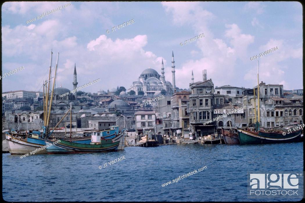 Stock Photo: Süleymaniye Mosque and Golden Horn Harbor, Bosphorus, Istanbul, Turkey, 1959.