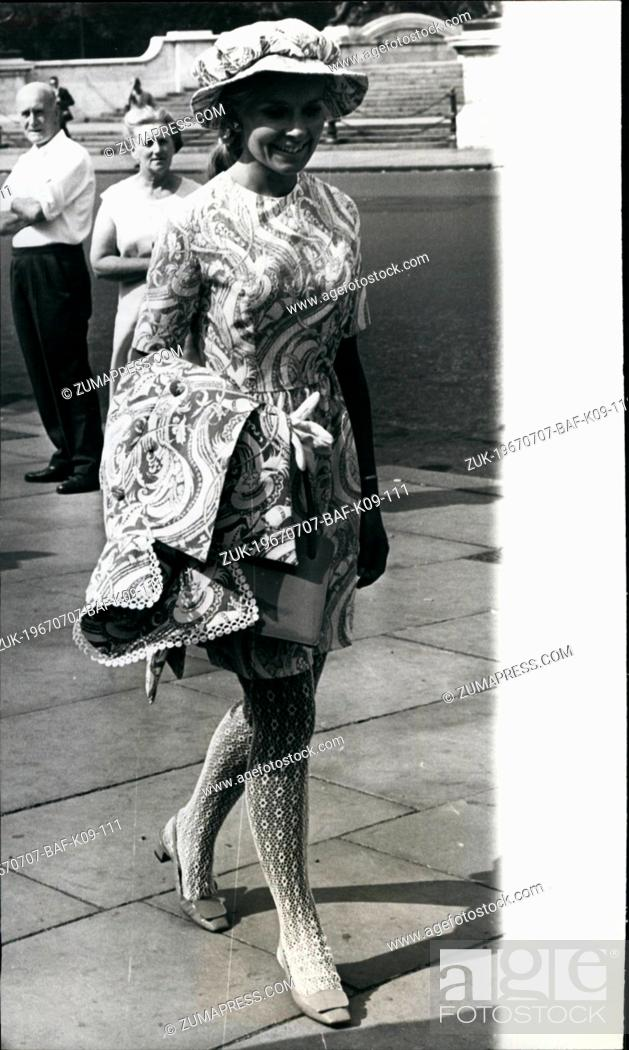 Stock Photo: Jul. 07, 1967 - Miss Beefeter; Wearing lace stockings and a beefeater hat, Elsa Calvo went to yesterday's Royal Garden Party at Buckingham Palace.