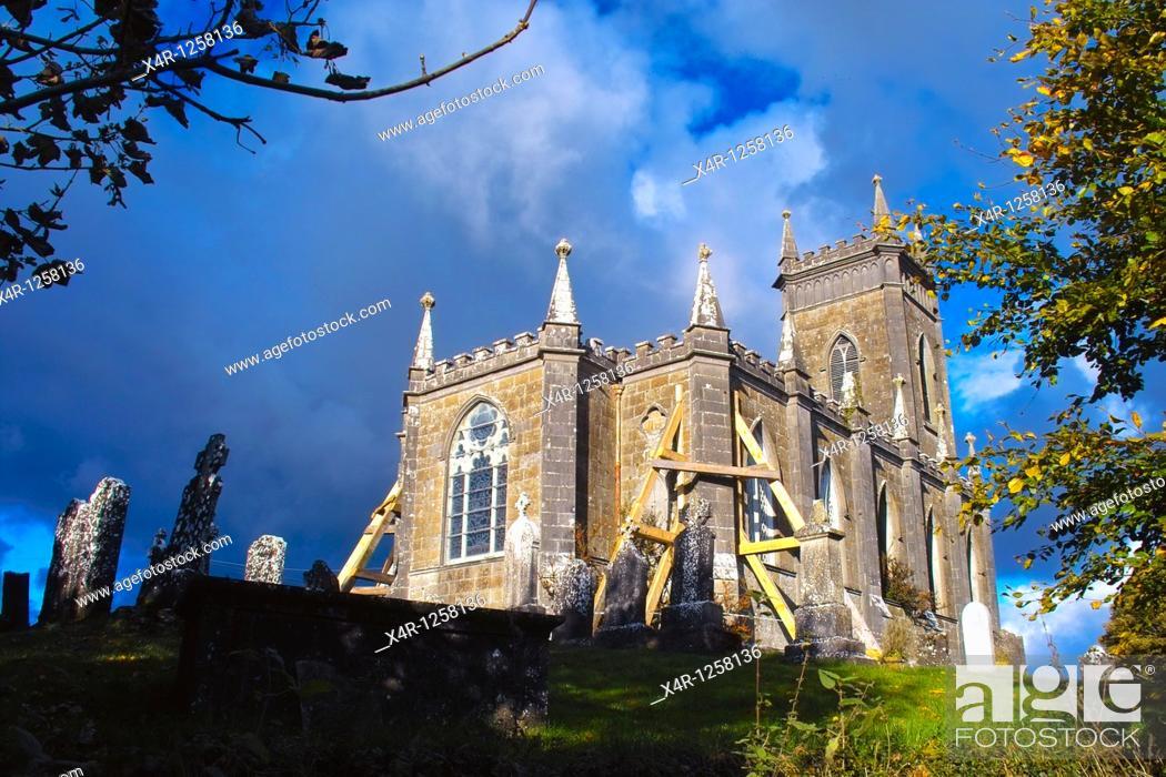 Stock Photo: Kilbixy Church and Graveyard, Co  Westmeath, Ireland.