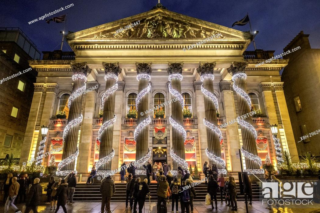 Stock Photo: Exterior night view of The Dome restaurant on George Street with Christmas decorations in Edinburgh New Town, Scotland, United Kingdom.