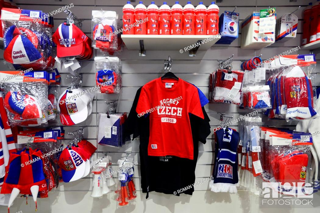 Stock Photo - Sport shop offers clothes and other subjects for fans of the  Czech Ice hockey Team prior to the 2015 IIHF World Championship 4c37958260c