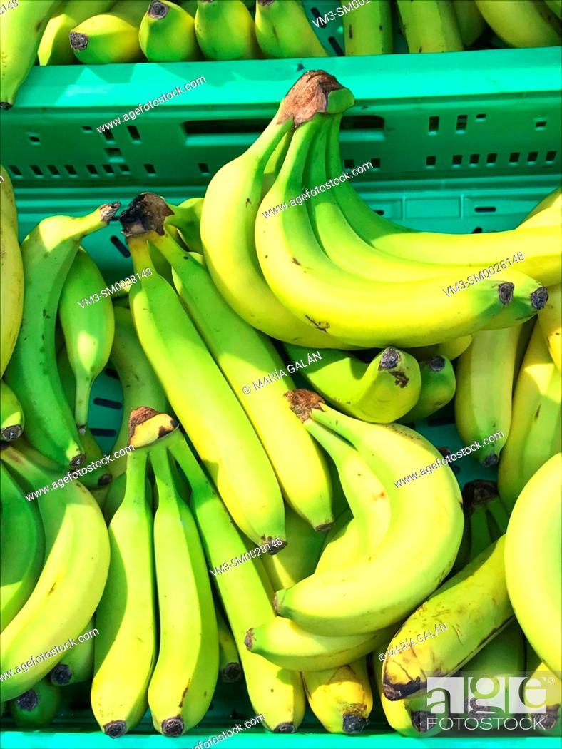 Stock Photo: Bananas in a fruit shop.