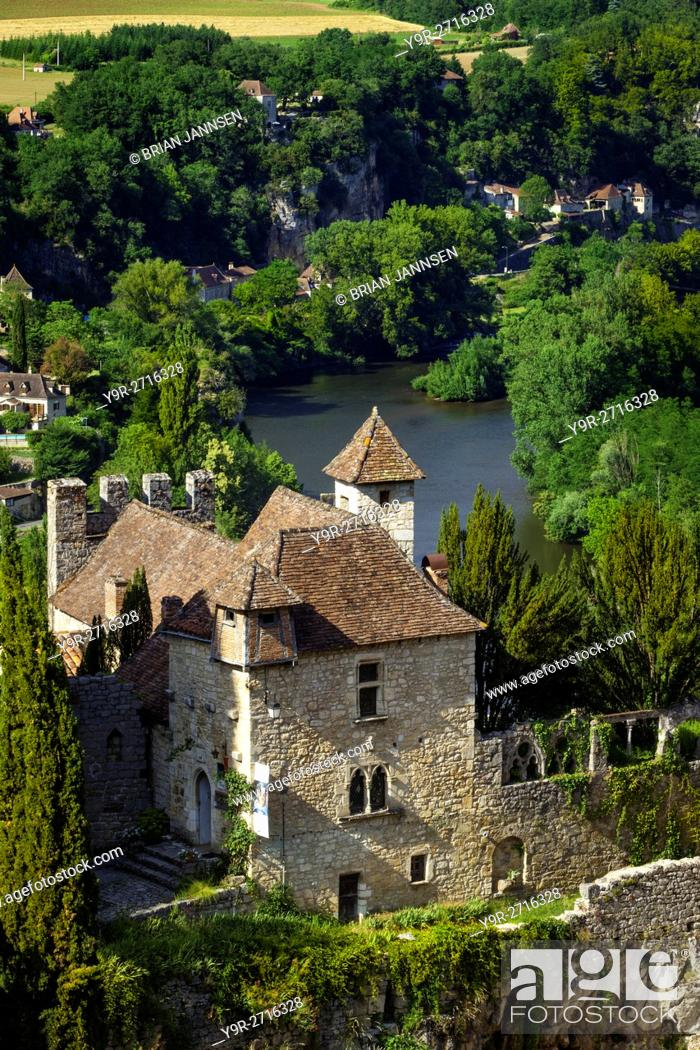 Stock Photo: View over Saint-Cirq-Lapopie with River Lot beyond, Midi-Pyrenees, France.