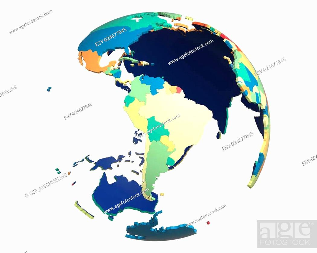 Stock Photo: Political Globe, centered on South America.