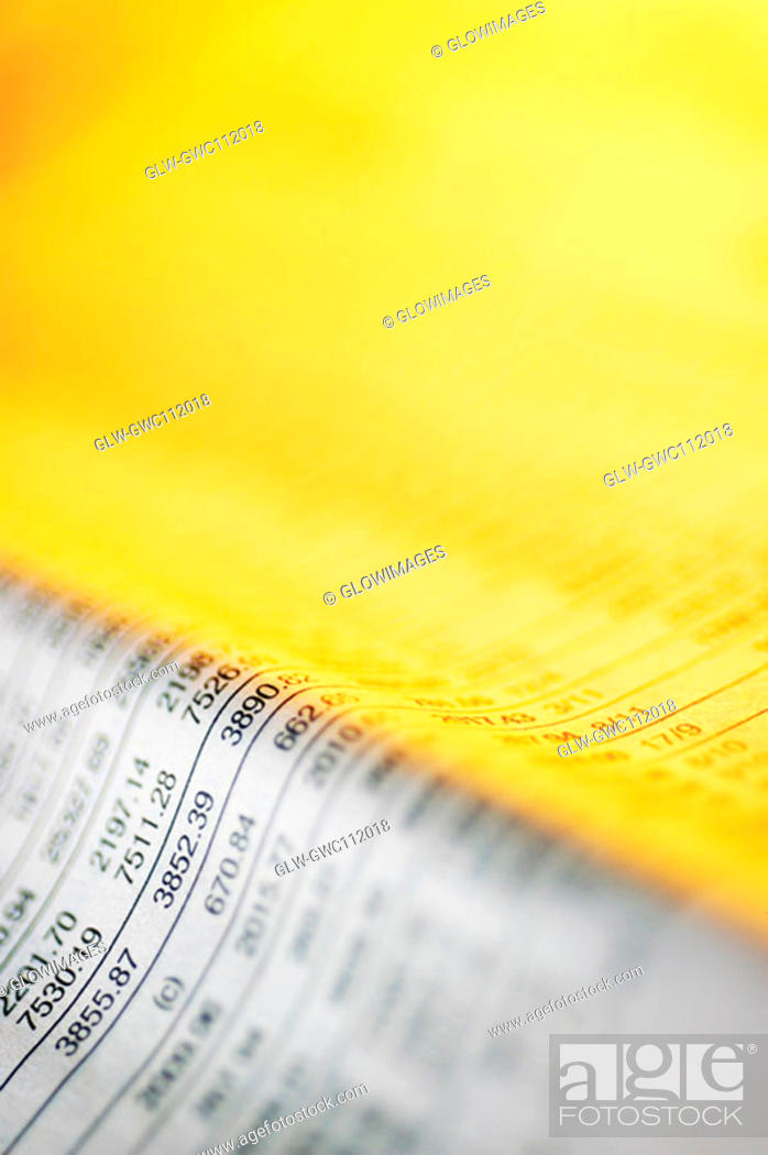 Stock Photo: Close-up of financial figures on a newspaper.