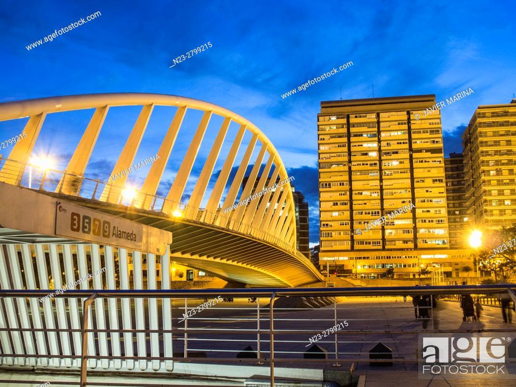 Stock Photo: Puente de la Exposición bridge and subway station, Valencia, Spain.