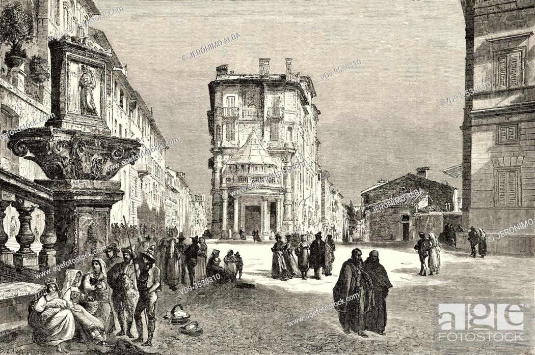 Stock Photo: Crossroads of streets in the center of the ancient city of Rome, Rome. Italy, Europe. Trip to Rome by Francis Wey 19Th Century.