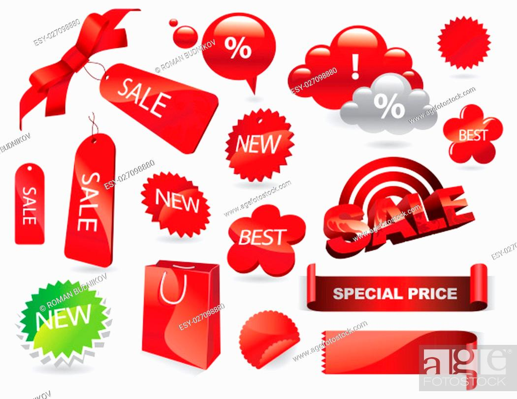 Stock Photo: Sale Labels, Shopping Stickers and Tags Vector Set. Vector illustration, EPS 10.