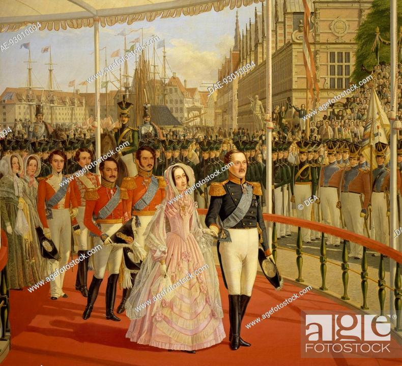 Stock Photo: Frederick VII and Princess Marianne in procession on 22 June 1841 in Copenhagen, painting by Carl Balsgaard (1812-1893). Denmark, 19th century.