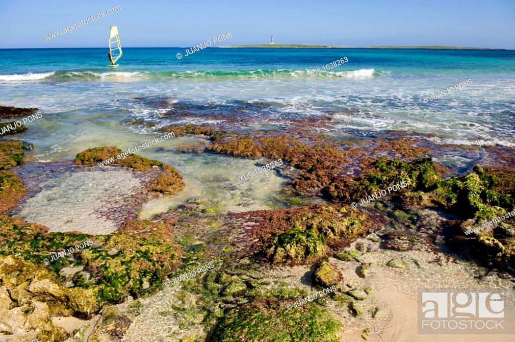 Stock Photo: Windsurfing, Minorca, Balearic Islands, Spain.