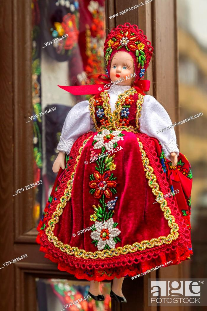 Stock Photo: Dolls in folkloric and traditional dresses at a souvenir shop. Budapest Hungary, Southeast Europe.
