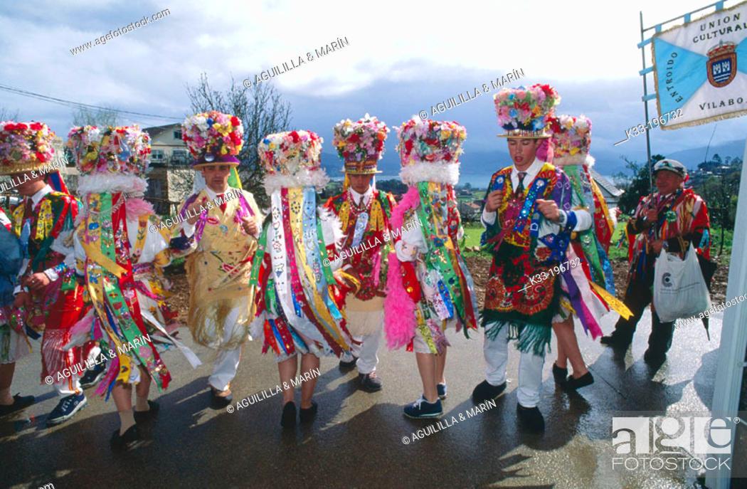 Stock Photo: 'Madamas y galanes', carnival. Cobres. Pontevedra province. Spain.
