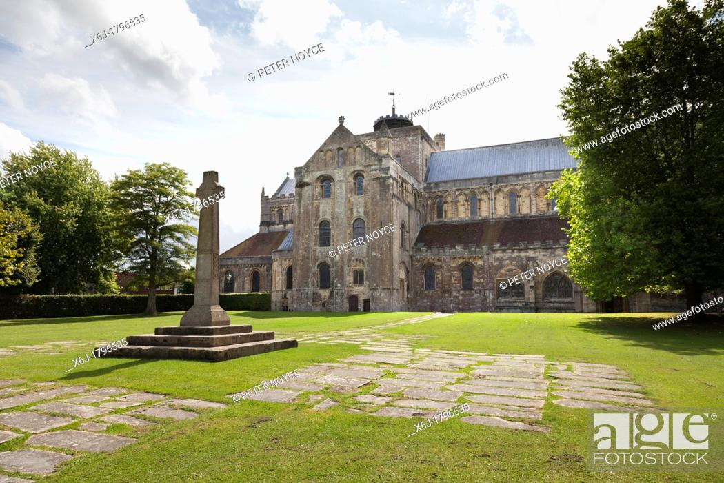 Stock Photo: Gravestones forming path to the North Garth monument at Romsey abbey, Parish church of St Mary and St Ethelflaeda.