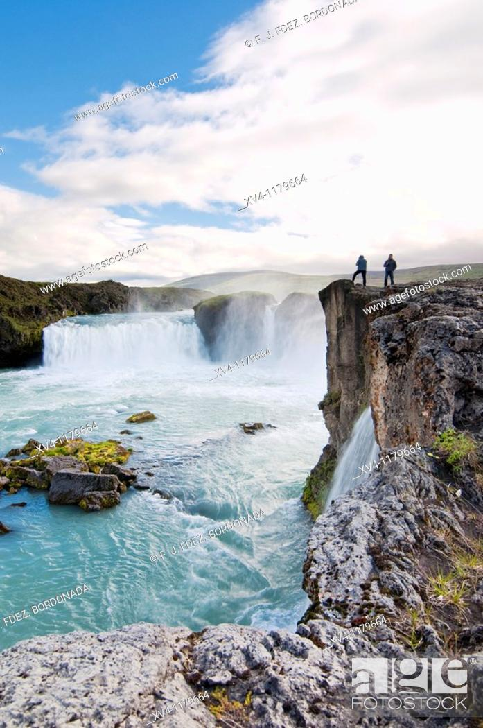 Stock Photo: Godafoss or waterfall of the Gods, is on the river Skjalfandafjot  North Iceland.