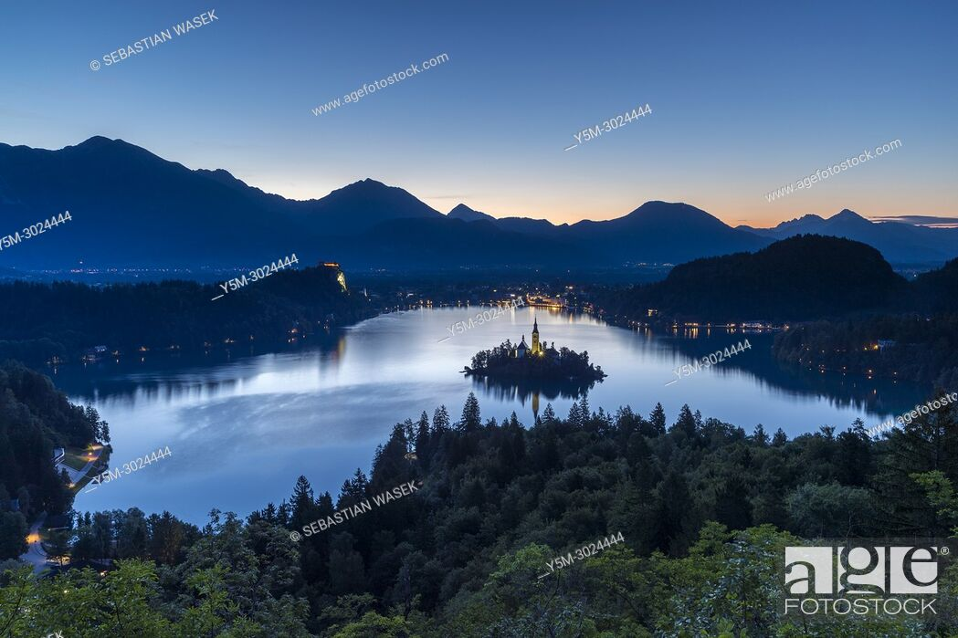 Stock Photo: Lake Bled seen from Ojstrica, Upper Carniola, Slovenia, Europe.
