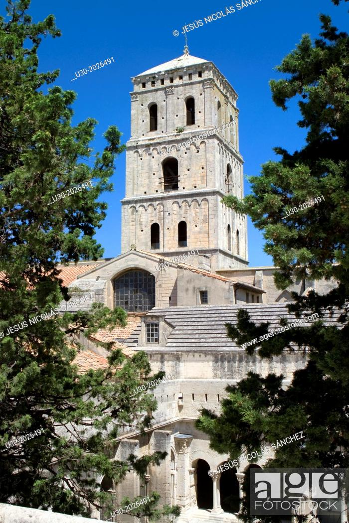 Stock Photo: Tower of Saint Trophimus cathedral 12th century, monument declarated World Heritage by UNESCO. Arles, Bouches-du-Rhône department, in Provence-Alpes-Côte d'Azur.