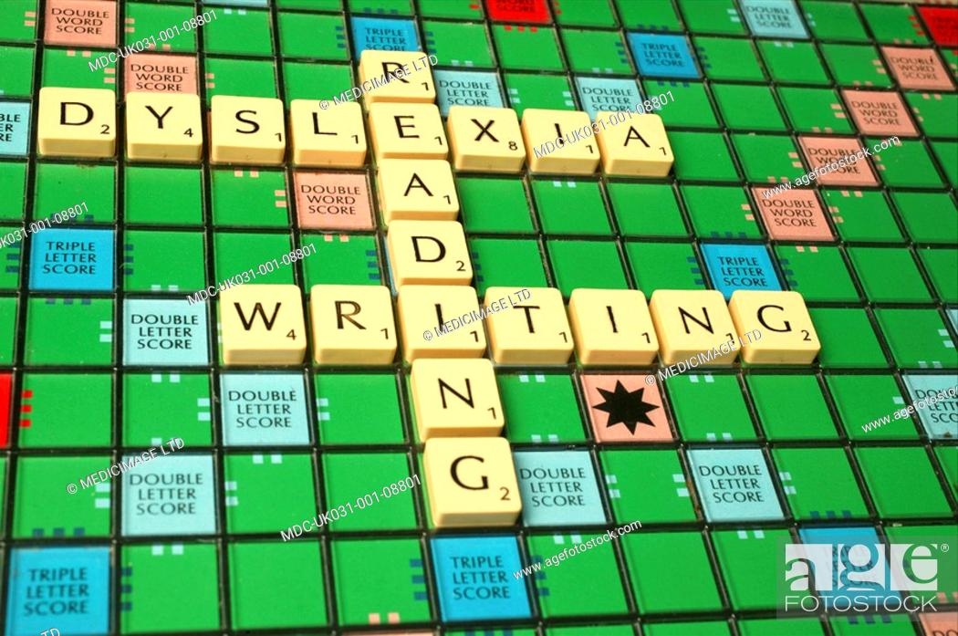 The words, 'dyslexia,' 'reading' and 'writing' are spelled