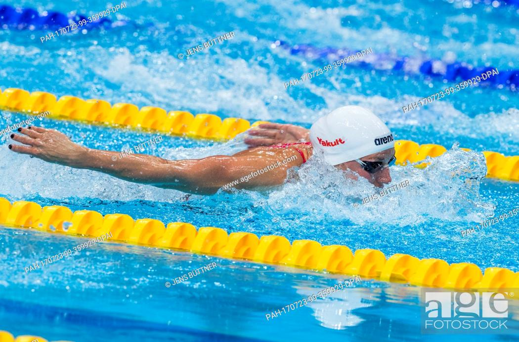 Stock Photo: Katinka Hosszu from Hungary swimming at the women's 200m individual medley semi-finals at the FINA World Championships 2017 in Budapest, Hungary, 23 July 2017.